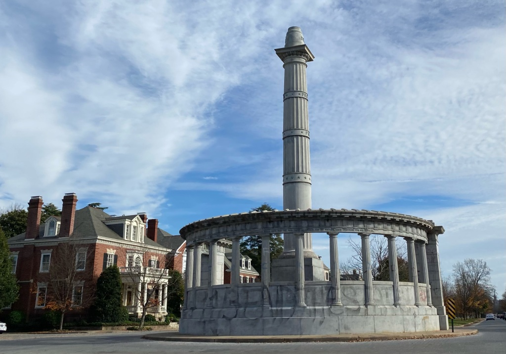 Former location of Jefferson Davis statue, which was toppled by rioters during the Goerge Floyd protest in June 2020.
